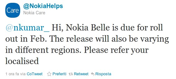 Confermato Per Febbraio Nokia Belle