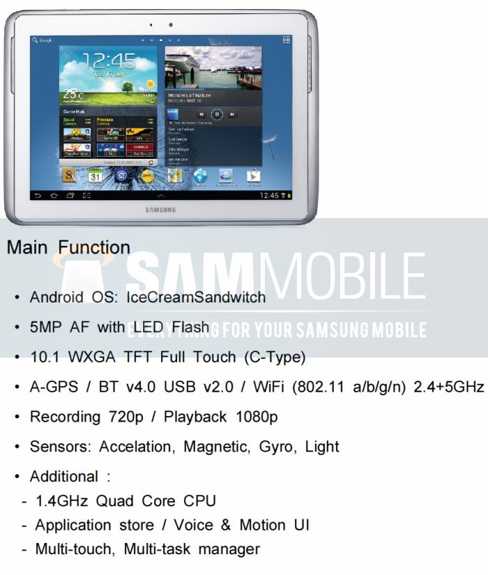 Ecco le specifiche ufficiose del Samsung Galaxy Note 10.1