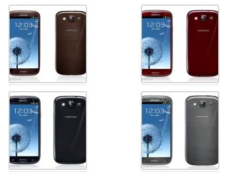 Nuovi colori per il samsung Galaxy S3: rosso, nero, grigio e marrone