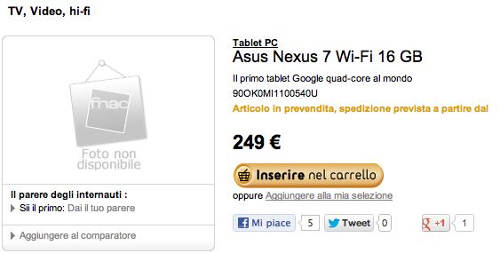 Google Nexus 7: avviati i preordini sul sito Fnac.it