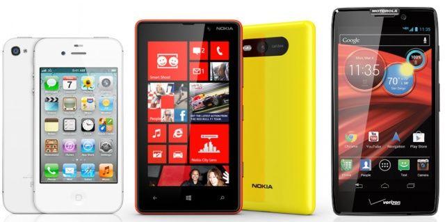 Ecco il confronto tra l'iPhone 5 vs iPhone 4S vs nuovi Nokia Lumia vs nuovi Motorola RAZR