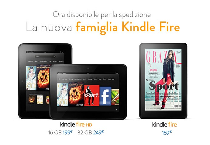 Sbarca in Italia il tablet Amazon Kindle Fire HD