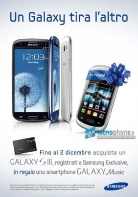 Nuova offerta Samsung Galaxy S3, in omaggio un Galaxy Music