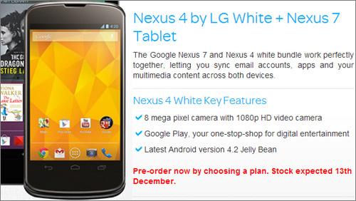 Arriva la conferma che il Nexus 4 sarà anche in versione bianca