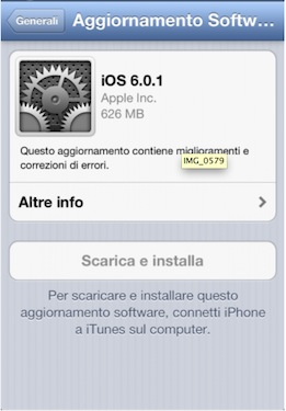 Apple rilascia il nuovo iOS 6.0.1 e iOS Updater
