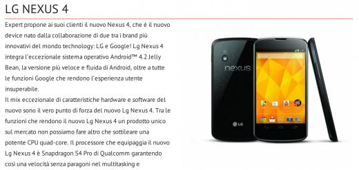 Il Nexus 4 compare sul sito ufficiale di Expert