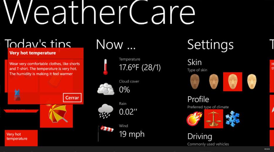 L'app WeatherCare: non solo meteo