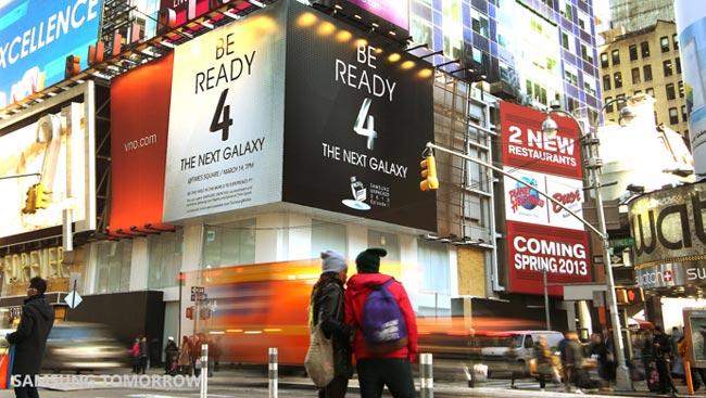 Tutto pronto a Time Square per il nuovo Samsung Galaxy S4