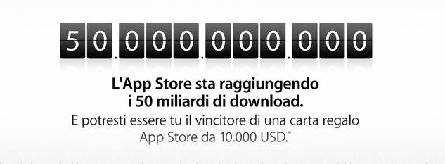 L'App Store sta per raggiungere 50 Miliardi di Download, donando 10.000$ al più fortunato!