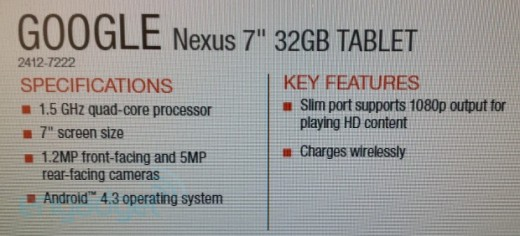 Nexus 7 II avrà Android 4.3, doppia fotocamera e ricarica wireless