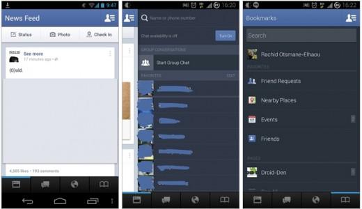 Testata da Facebook un'app innovativa e con la barra di navigazione ridisegnata
