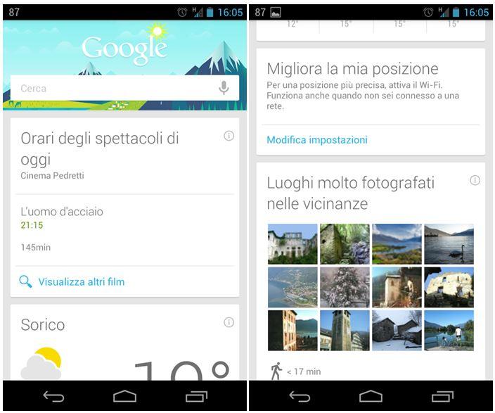 Google Now: nuove Card arrivate anche in Italia con l'ultimo aggiornamento