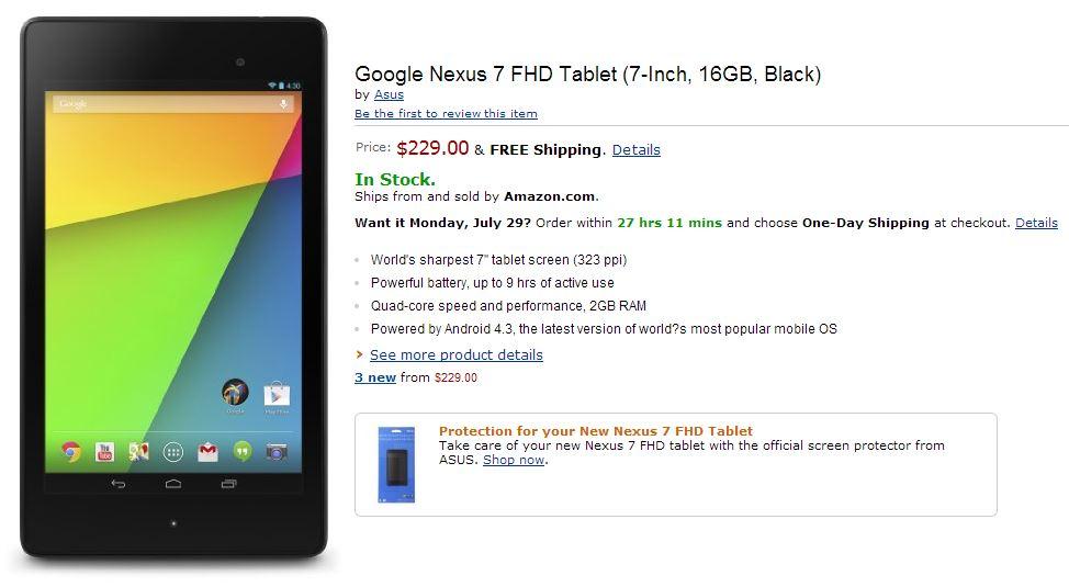 Nexus 7 2013 già disponibile su Amazon.com