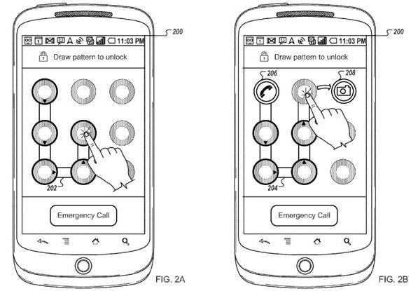 Google brevetta l'avviare delle applicazioni preferite nella schermata di sblocco tramite sequenza