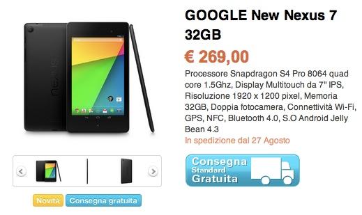 Il nuovo Nexus 7 sarà disponibile da Saturn a 269€ dal 27 Agosto!