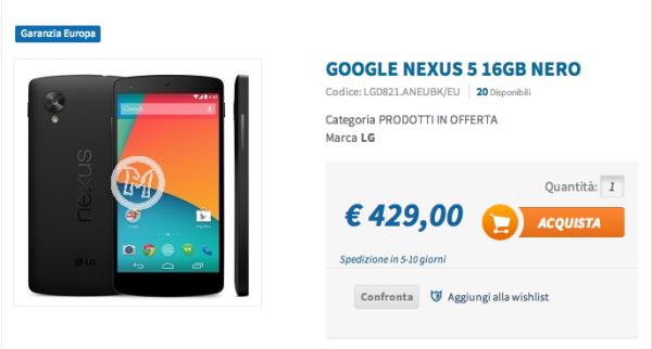 NEXUS 5 già disponibile all'acquisto a 429€ online