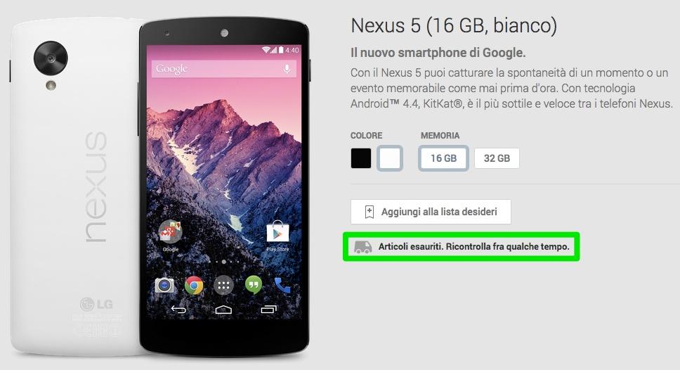 Esaurito il Nexus 5 Bianco da 16GB nel Play Store di Google