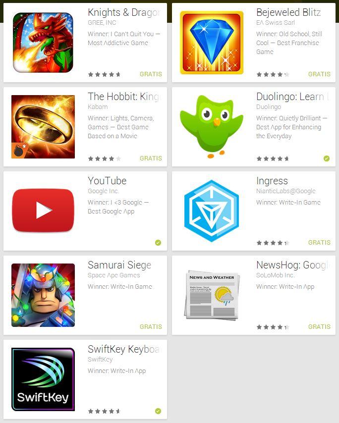 I migliori giochi Android del 2013 premiati al Players' Choise Award