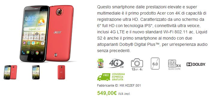 Finalmente disponibile l'Acer Liquid S2 nello store italiano a 549€
