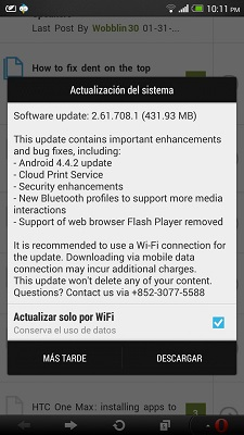 Android 4.4.2 arriva anche per Htc One Max