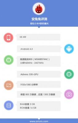 AnTuTu mostra quelle che potrebbero essere le caratteristiche dello Xiaomi Mi4