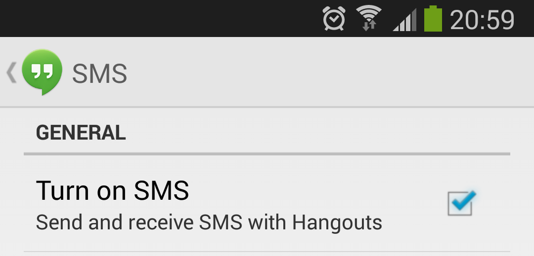 disabilitare sms google hangout android
