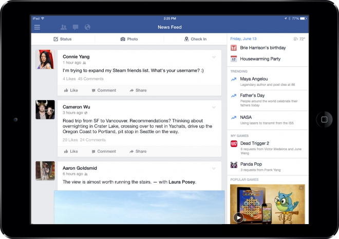 Update Facebook per iPad:Barra per games ed altro
