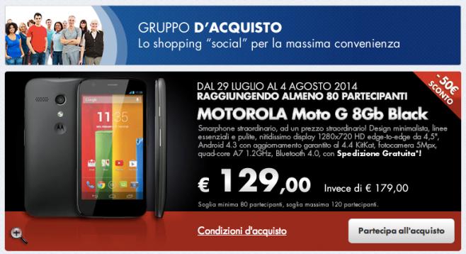 Motorola Moto G 8GB a soli 129 euro sul sito della COOP solo per oggi!
