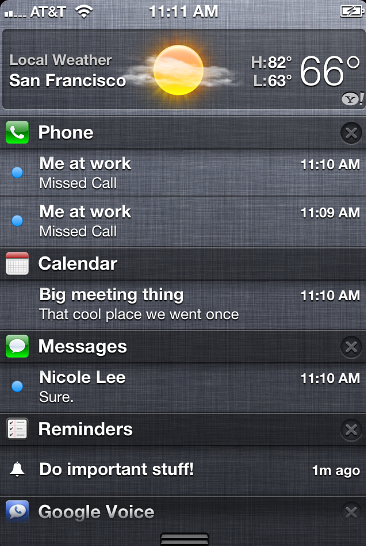 Cambiare l'ordine di visualizzazione Notification Center iPhone