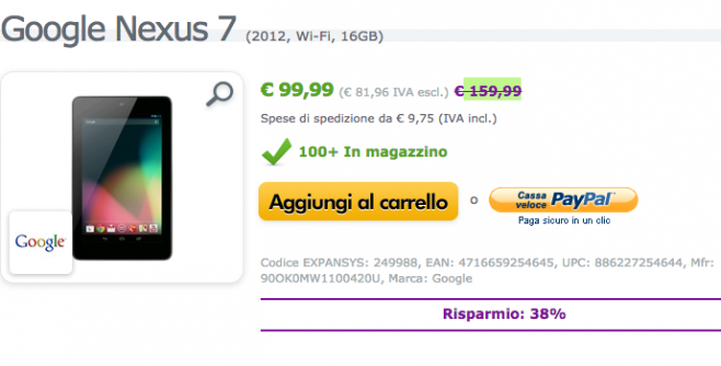 Asus Nexus 7 2012 in offerta a 99 euro su un paio di Shop italiani