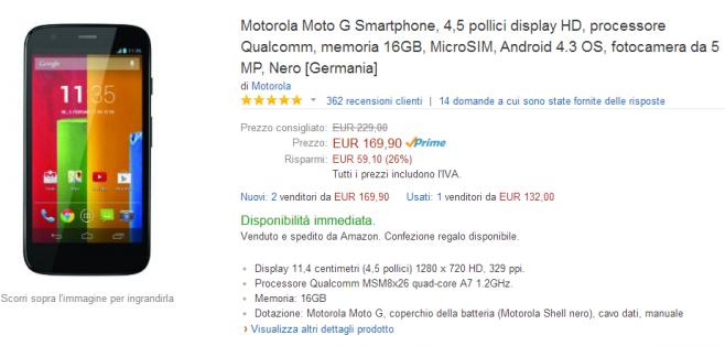 """Motorola Moto G """"Vecchia Generazione"""" da 16GB a 170 euro su amazon.it"""