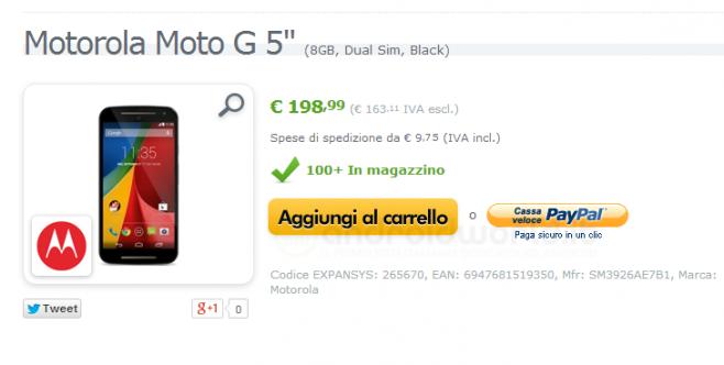 Il nuovo Motorola Moto G è già disponibile su Expansys.it a 198,99 euro