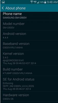 Aggiornamento Samsung Galaxy S5: arrivato Kitkat 4.4.4 per i brand Verizon