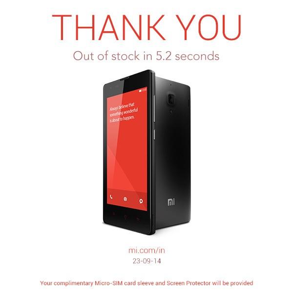 Xiaomi Redmi 1S registra un altro record: 60.000 unità in 5,2 secondi