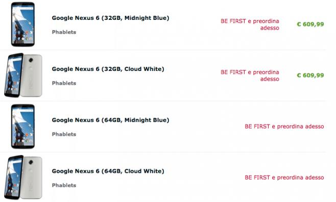 Nexus 6 da 32 GB in pre-ordine a 609€ su Expansys.it