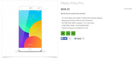 MX4 Pro avvistato su uno Store estero:Confermate le caratteristiche tecniche