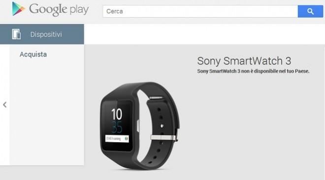 Sony smartwatch 3 arriva sul Play Store, ma non in Italia