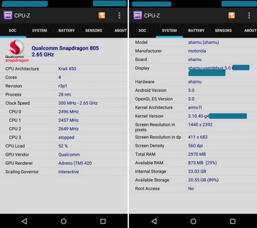 Motorola Nexus 6: ecco cosa dice CPU-Z con Android 5.0