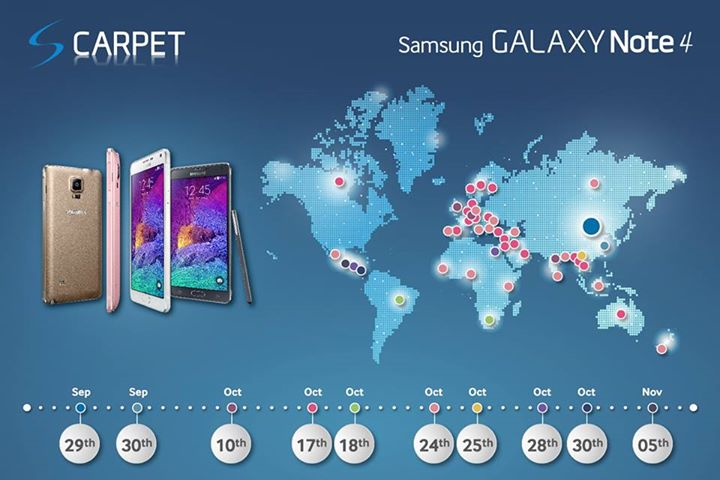 Note 4:Samsung svela le date di uscita per tutti i paesi