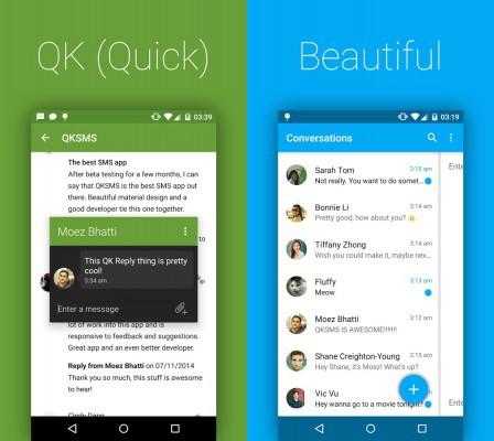 QKSMS: ecco un app che vi permetterà di utilizzare gli SMS in Material Design