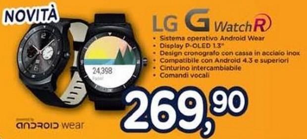 G Watch R di LG appare ufficialmente nel volantino di Unieuro a 270€