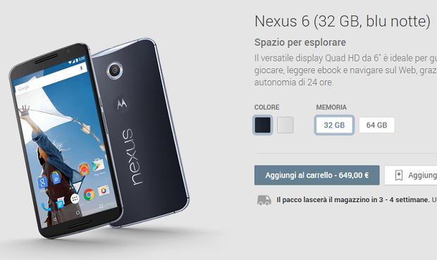 Google Nexus 6 disponibile sul Play Store!