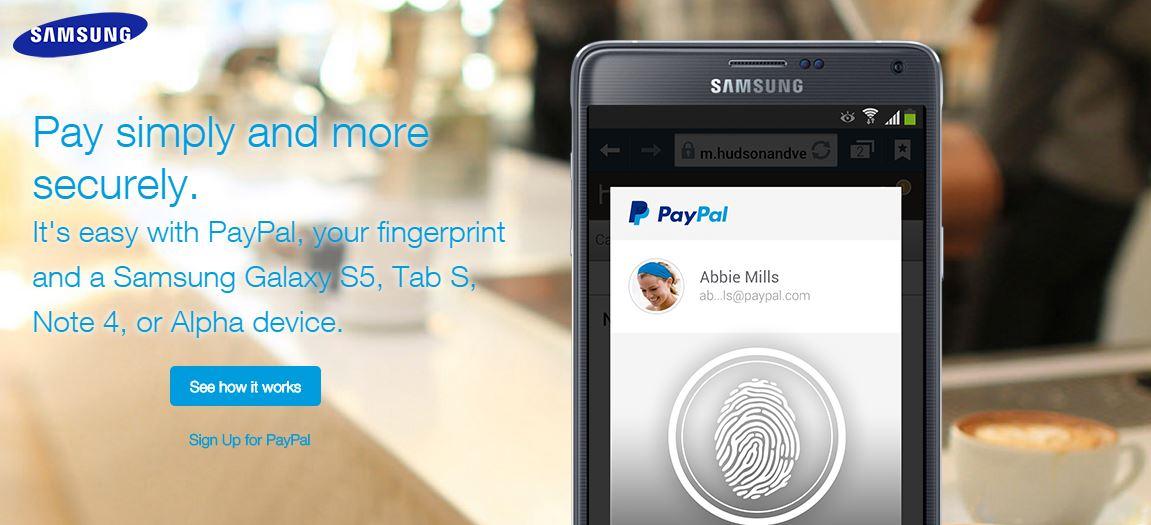 PayPal pronta ai pagamenti via impronte digitali sui Device Samsung