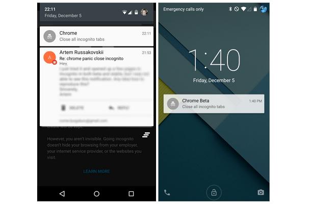 """Google Chrome in Android Lollipop vi notificherà di chiudere le schede in """"incognito"""""""