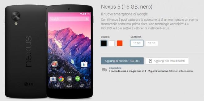 Nexus 5 torna in vendita nel Play Store