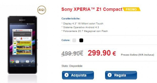 Sony Xperia Z1 Compact TIM in offerta a 299€