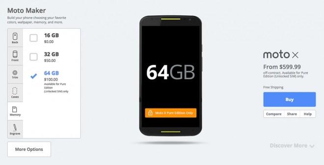 """Motorola Moto X 2014 Pure Google: in America costa """"solo"""" 599 dollari"""