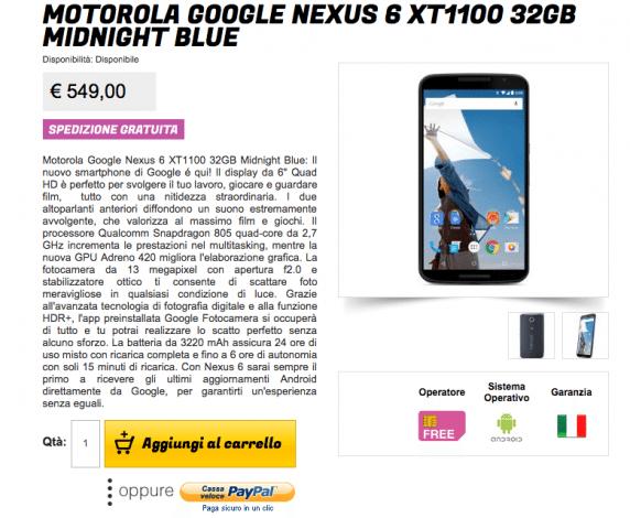Nexus 6: Glistockisti stracciano il prezzo a 549