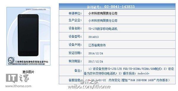 Xiaomi, certificata in Cina una versione potenziata di Redmi 2 con 2GB Ram 26 Gennaio 2015 14
