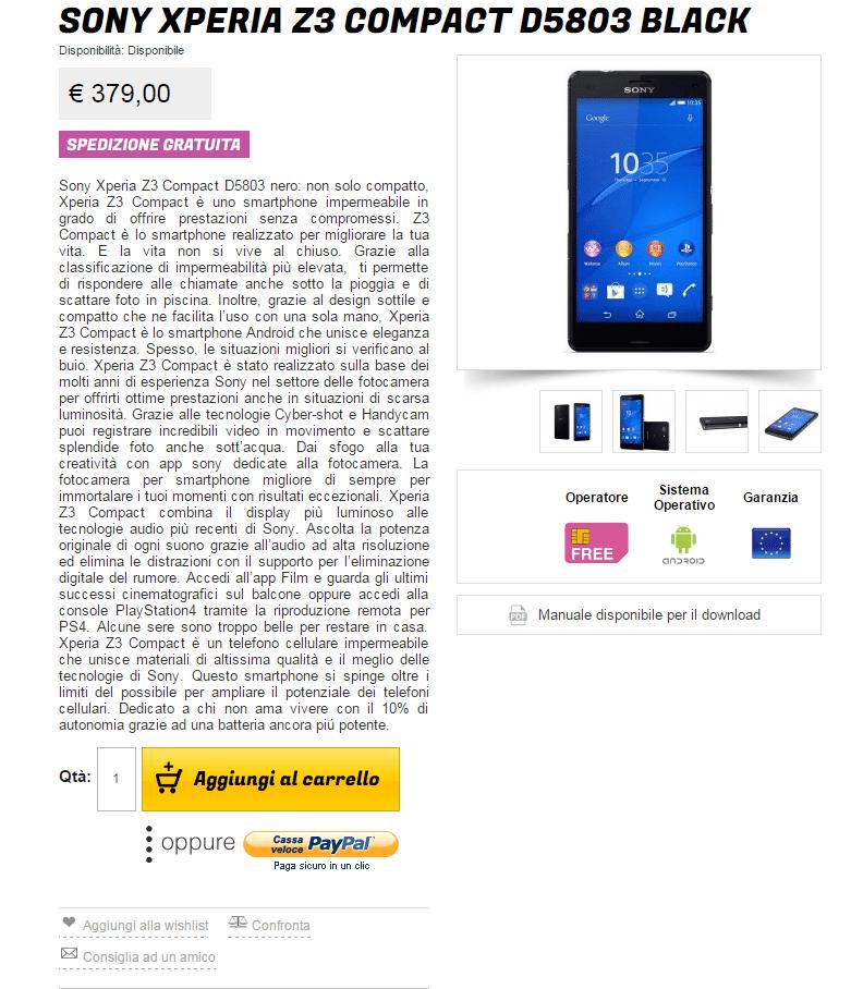 Sony Xperia Z3 Compact a 379€ su GliStockisti!